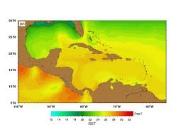 Map Caribbean Sea by Sea Surface Temperatures Sst Maps By Month Wwf