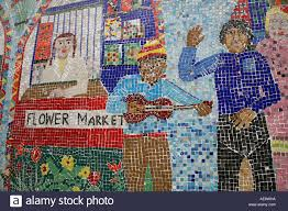 mosaic mural on school wall at columbia road flower market london mosaic mural on school wall at columbia road flower market london england