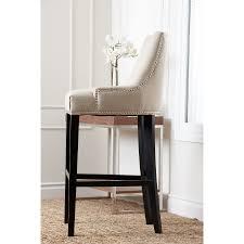 abbyson newport ivory fabric nailhead trim bar stool free