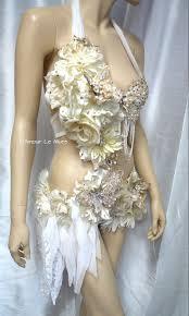 gold and white goddess fairy monokini cosplay dance costume rave