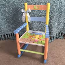 Childrens Rocking Chairs Personalized Classic Winnie The Pooh Themed Rocking Chair Hand Painted Kids