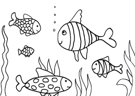 five fish swimming in water coloring pages for kids ce0