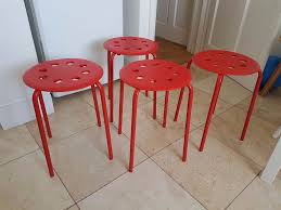 Marius Stool Ikea by 4 Red Stools Ikea Marius Stackable Chairs Purchased New In 2017