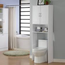 White Bathroom Shelves - white wooden bathroom cabinet with double doors and shelf over