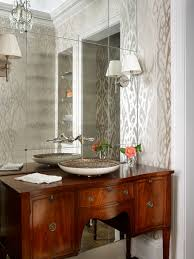 romantic bathroom with mirrored accent wall transitional bathroom