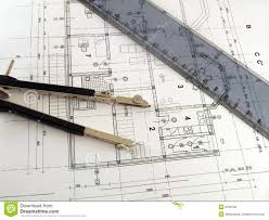architectural plan divider and ruler on architectural plan stock photography image