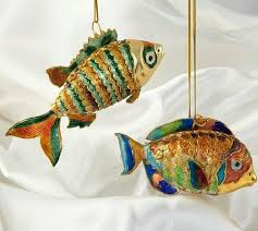 cloisonne enamel articulated tropical fish ornament set nautical
