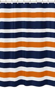 Orange Shower Curtains Navy Blue And Orange Stripe Bathroom Fabric Bath Shower