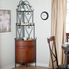 Bakers Wine Rack Furniture Beautiful Iron Corner Bakers Rack With Drawers