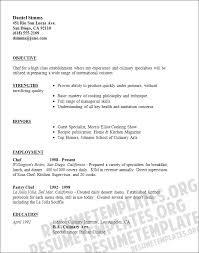 resume format for free chef resume template