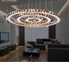 Chandelier Creative 2 Rings Led Chandeliers Creative Round Restaurant Modern Crystal