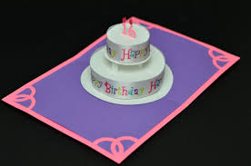 round birthday cake pop up card with