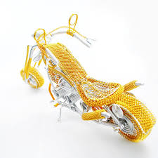 harley davidson wire art motorcycle model sculpture gold