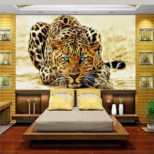 leopard print wallpaper promotion shop for promotional leopard custom 3d photo wallpaper bed room mural non woven wall sticker leopard hunting gold painting sofa tv background wall wallpaper