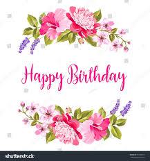 tropical flower garland happy birthday invitation stock vector