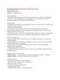 Pharmacist Skills Resume Resume Format For Freshers Pharma Job Free Resume Example And