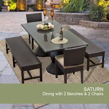 saturn rectangular outdoor patio dining table with 2 chairs and 2