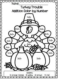 turkey trouble addition color by number elementary education turkey