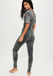 lounge jumpsuit grey washed lounge jumpsuit missguided australia