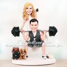 weight lifting cake topper weightlifter cake topper with groom lifting on barbell the