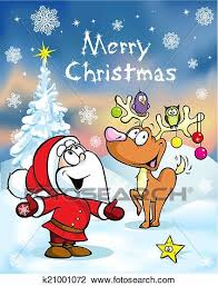 clipart of merry christmas greeting card funny santa claus and