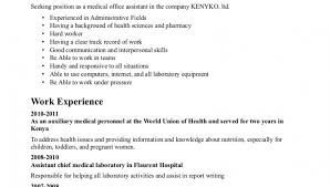 sample resume for medical office assistant medical office