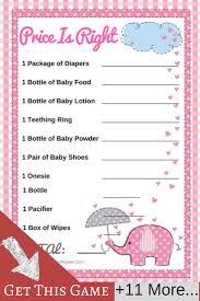 pink elephant baby shower 12 game set elephant baby showers fun