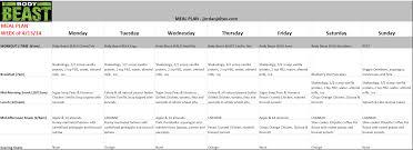 Beast Meal Plan Spreadsheet Jjoltes Meal Plan Beast 4 13 2014 Beast For