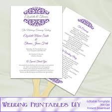 Paddle Fan Program Template Purple Wedding Program Fans Template Diy By Weddingprintablesdiy