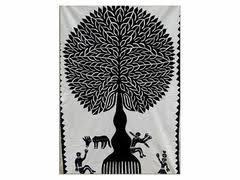 tilonia wall hanging tree of appliqué in black 24 x 36