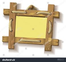 wooden frame hanging on crude stock vector 69577450