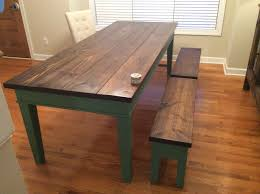 finished farm table pine top distressed and burned finished with