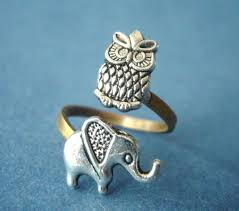 Owl Item by Silver Owl Ring With An Elephant Adjustable Ring Animal