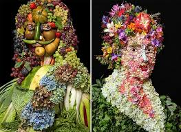 flowers and fruits creative portraits made of fruits vegetables flowers