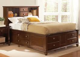 Bookcase Headboard With Drawers Queen Storage Bed With Bookcase Headboard Brown Design A Queen