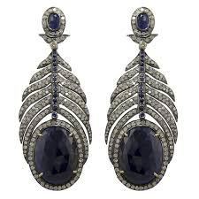 chandelier diamonds blue sapphire and diamonds chandelier earrings with silver and 18k