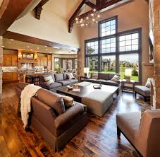 great room dining room rustic with sloped ceiling transitional