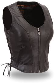 biker jacket vest womens short length black leather motorcycle vest by first mfg