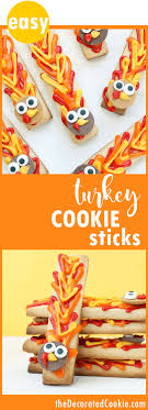 simple thanksgiving cookie decorating turkey cookie sticks