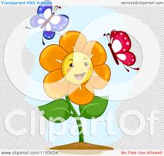 cartoon of a happy flower mascot with two butterflies royalty