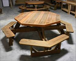 Free Plans For Round Wood Picnic Table by Exteriors Hexagon Shaped Picnic Table Indoor Picnic Table