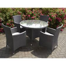 Grey Rattan Outdoor Furniture by Rattan Effect 4 Seater Patio Sofa Set With Cushions