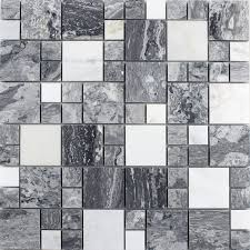 Wholesale Grey Stone With White Crystal Mosaic Tile Sheet Square - Stone glass mosaic tile backsplash