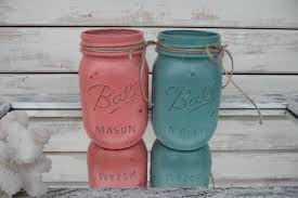 set of 2 custom coral and teal coral reef distressed ball jars