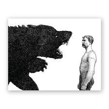 man vs bear birthday card u2013 the mincing mockingbird u0026 the frantic