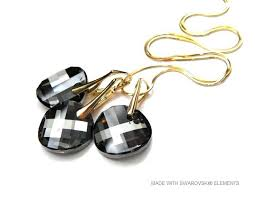 silver earrings necklace images Set silver golden earrings and necklace with swarovski elements jpg
