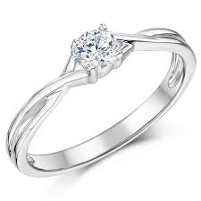 engagement ring uk 9ct white gold quarter carat diamond twist solitaire engagement