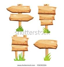 wooden blank sign boards stock vector 558391504