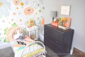 Hand Painted Bedroom Furniture by Hand Painted Floral Wall With Gold Accents Girls Room Makeover