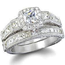 diamond wedding ring sets penelope s antique style imitation diamond wedding ring set